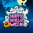 Happy Halloween sign with ghosts - Stock Photo