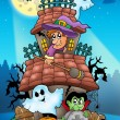 House with Halloween characters — Stock Photo #3690486