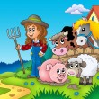 Country girl with farm animals — Stock Photo