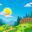 Country landscape with Sun — Stock Photo