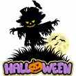 Halloween scarecrow with full moon - Stock Vector