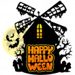 Royalty-Free Stock Vector Image: Mill with Happy Halloween sign 1