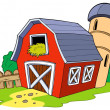Stock Vector: Cartoon red barn