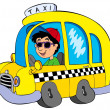 Cartoon taxi driver - Stock Vector