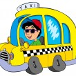 Stock Vector: Cartoon taxi driver