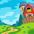 Country landscape with barn — Stock Vector