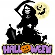 Grim reaper with Halloween sign — Stock Vector