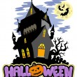 Halloween sign with haunted mansion — Stock Vector