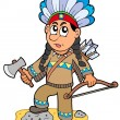 Indian boy with axe and bow - Stock Vector