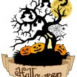 Tree silhouette with Halloween banner — Vector de stock
