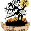 Baum Silhouette mit Halloween-banner — Stockvektor