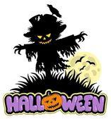 Halloween scarecrow with full moon — Stock Vector