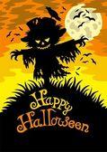 Happy Halloween sign with scarecrow — Stock Vector