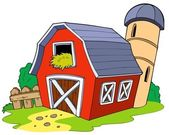 Cartoon red barn — Stockvector