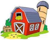 Cartoon red barn — Stock Vector