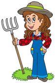 Cute farm girl — Stock Vector