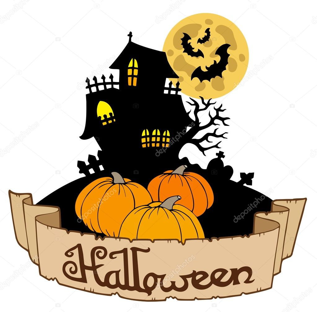 Haunted house with Halloween banner — Stock Vector ...