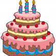 Big cartoon birthday cake - Stock Vector