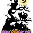 Halloween sign with cats — Stock Vector