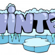 Stock Vector: Cartoon winter sign