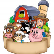 Banner with barn and country animals — Stockfoto