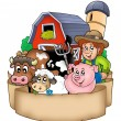 Stock Photo: Banner with barn and country animals