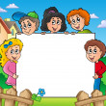 quadro em branco com várias crianças — Foto Stock
