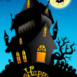Happy Halloween sign with old house - Stock Photo