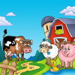 Red barn with farm animals — Stock Photo
