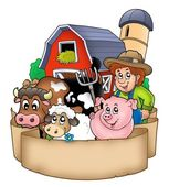 Banner with barn and country animals — Stock Photo