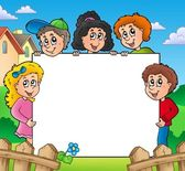 Blank frame with various kids — 图库照片