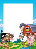 Marco con animales de granja y granero — Foto de Stock