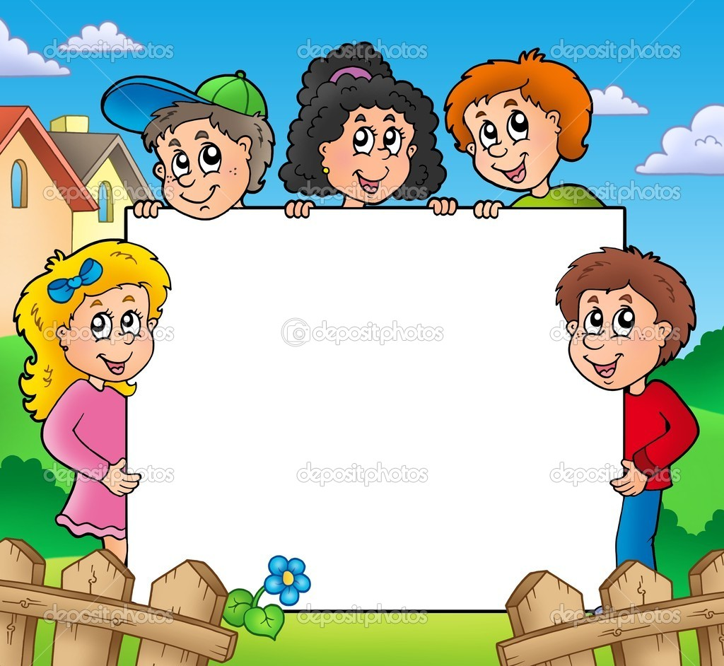 Blank frame with various kids - color illustration. — Stock Photo #3742531