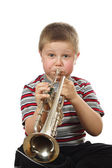Boy Blowing Trumpet — Stock Photo