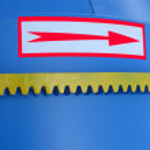 Blue metallic industrial box, red arrow — Stock Photo #2889848