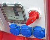 Przełącznik czerwone, niebieskie przyciski koncepcja — Zdjęcie stockowe