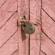Royalty-Free Stock Photo: Brown vintage wall, locked door concept