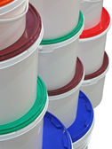 Stack of round colorful boxes isolated — Stock Photo