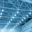 Blue interior warehouse lighting — Stock Photo