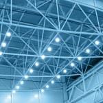 Blue interior warehouse lighting — Stock Photo