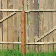 Wooden pinetree fence, construction — Stock Photo