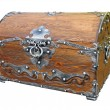 Piratical vintage wooden chest isolated. - Zdjęcie stockowe