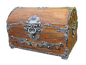 Piratical vintage wooden chest isolated. — Stok fotoğraf