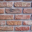 Vintage red brick wall, closeup stone texture — Stock Photo
