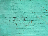 Green vintage brick wall, closeup stone texture — Stock Photo