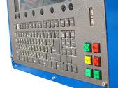 Painel de controle do teclado de metal industrial, pilha de chaves. — Foto Stock