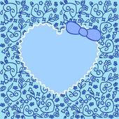 Heart over ornament blue — Stock Vector