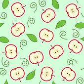 Naadloze rode appel knippen — Stockvector
