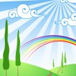 Background with clouds and a rainbow — Stock Vector