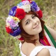 Slav girl with wreath at field — Stock Photo #3464198
